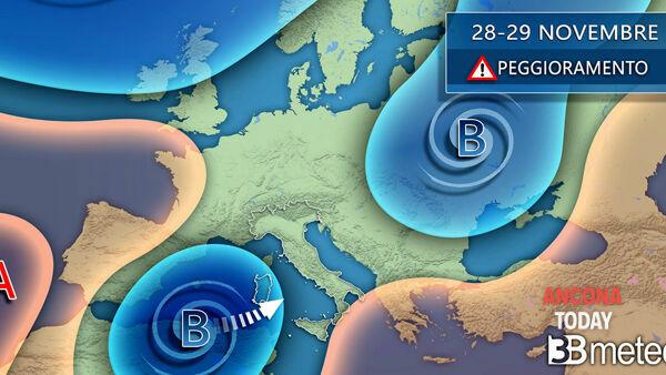 Meteo Italia Cartina.Meteo Le Previsioni Del Tempo Sulle Marche Per Il 28 E 29 Novembre 2020