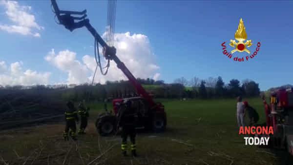 Il trattore si ribalta mentre lavora nel campo, l'intervento dei vigili del fuoco | VIDEO