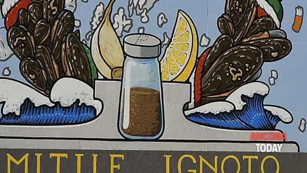 rifiuti davanti al murales milite ignoto spiaggia di collemarino-6