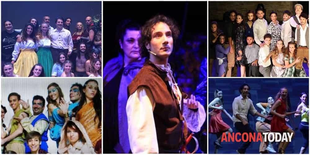 Lorenzo insieme alle 4 compagnie teatrali